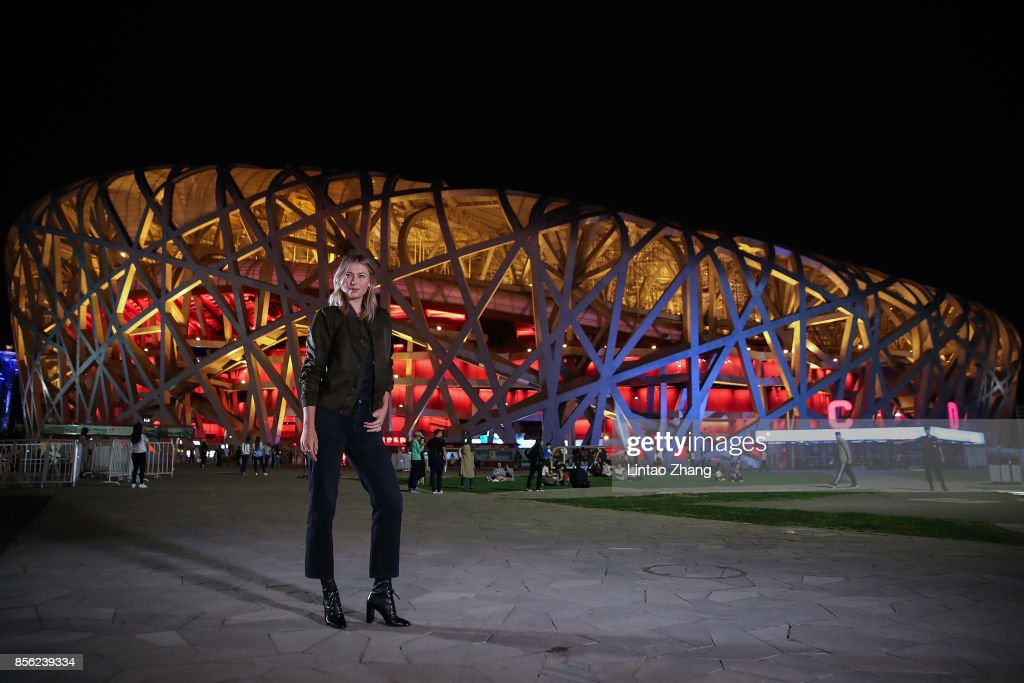Maria Sharapova of Russia poses for a picture in front of the National Stadium before the 2017 China Open Player Party on October 1, 2017 in Beijing, China.
