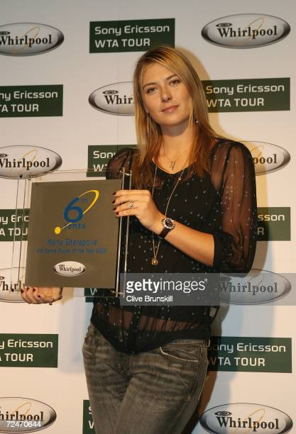 Maria Sharapova of Russia poses with her Whirlpool 6th Sense Player of the Year award during day three of the Sony Ericsson WTA Tour Championships at...