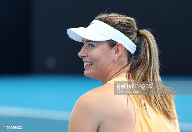 Maria Sharapova of Russia practices ahead of the 2020 Brisbane International at Pat Rafter Arena on December 31 2019 in Brisbane Australia