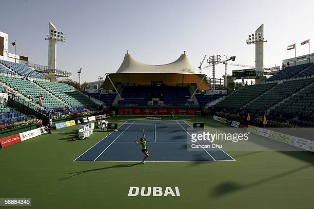 Maria Sharapova of Russia practises on the center court of the Dubai Tennis Stadium on February 19 2006 in Dubai The Dubai Women's Tennis...