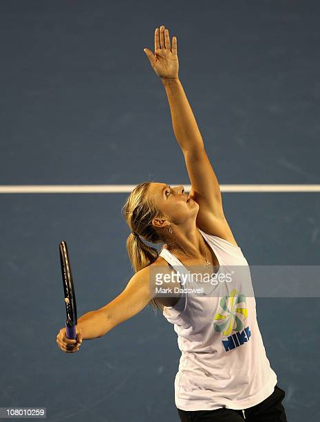 Maria Sharapova of Russia prepares to serve during a practice session ahead of the 2011 Australian Open at Melbourne Park on January 13 2011 in...