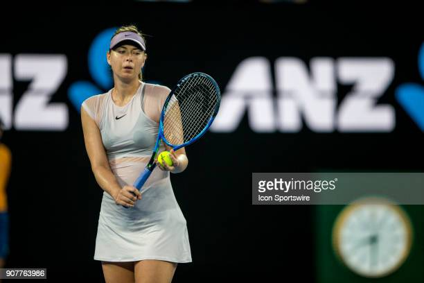 Maria Sharapova of Russia prepares to serve in her third round match during the 2018 Australian Open on January 20 at Melbourne Park Tennis Centre in...