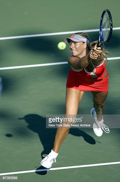 Maria Sharapova of Russia reaches for a return in her firstround mixed doubles match at the US Open Sharapova and Max Mirnyi of Belarus defeated Anna...