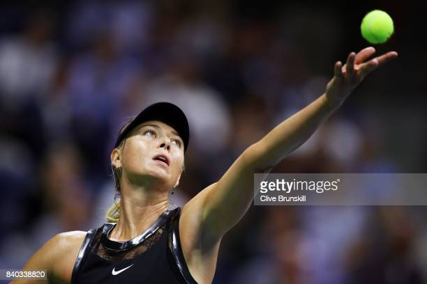 Maria Sharapova of Russia reacts during her first round Women's Singles match against Simona Halep of Romania on Day One of the 2017 US Open at the...