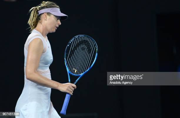 Maria Sharapova of Russia reacts during women's singles third round match against Angelique Kerber of Germany within the sixth day of 2018 Australia...