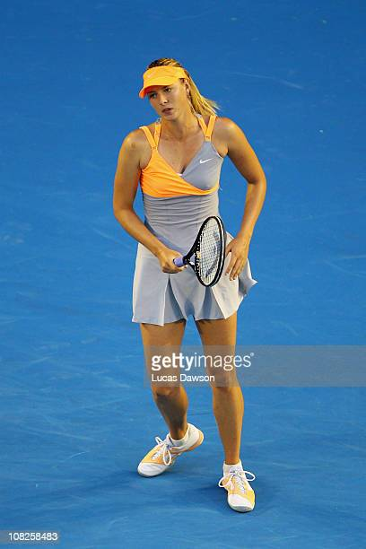 Maria Sharapova of Russia reacts in her fourth round match against Andrea Petkovic of Germany during day seven of the 2011 Australian Open at...