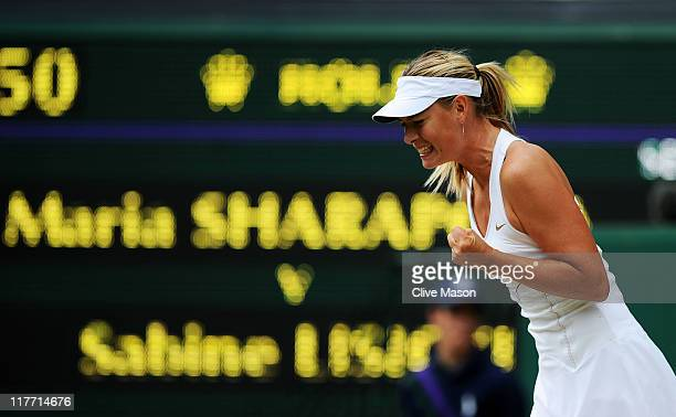 Maria Sharapova of Russia reacts to a play during her semifinal round match against Sabine Lisicki of Germany on Day Ten of the Wimbledon Lawn Tennis...