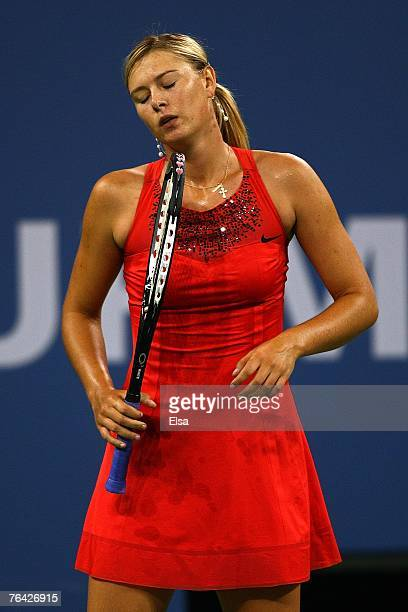 Maria Sharapova of Russia reacts to a point against Casey Dellacqua of Australia during day four of the 2007 US Open at the Billie Jean King National...