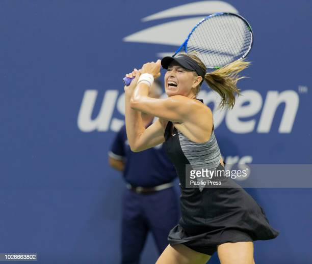 Maria Sharapova of Russia returns ball during US Open 2018 4th round match against Carla Suarez Navarro of Spain at USTA Billie Jean King National...