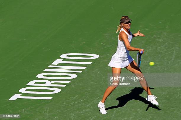 Maria Sharapova of Russia returns to Galina Voskoboeva of Kazakhstan on Day 4 of the Rogers Cup presented by National Bank at the Rexall Centre on...