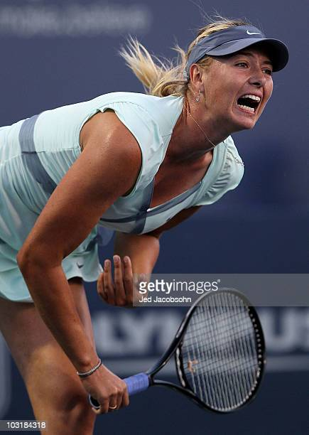 Maria Sharapova of Russia serves against Agnieszka Radwanska of Poland during the semifinals of the Bank of the West Classic at Stanford University...