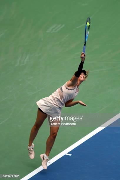 Maria Sharapova of Russia serves against Anastasija Sevastova of Latvia during their Women's Singles fourth round match on Day Seven of the 2017 US...