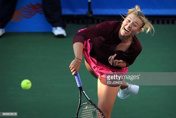 Maria Sharapova of Russia serves against Caroline Wozniacki of Poland during the women's singles final at the Hong Kong Tennis Classic tournament on...