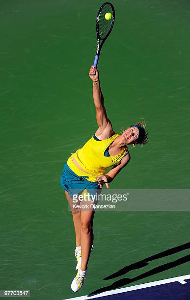 Maria Sharapova of Russia serves against Jie Zheng of China during the BNP Paribas Open on March 14 2010 in Indian Wells California Photo by Kevork...