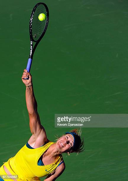 Maria Sharapova of Russia serves against Jie Zheng of China during the BNP Paribas Open on March 14 2010 in Indian Wells California