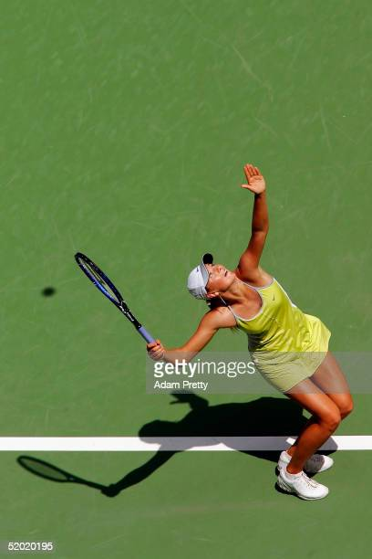 Maria Sharapova of Russia serves against Lindsay LeeWaters of the USA during day three of the Australian Open Grand Slam at Melbourne Park January 19...