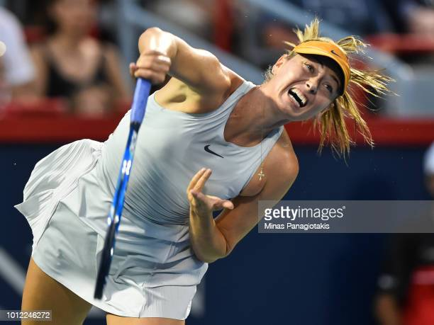Maria Sharapova of Russia serves against Sesil Karatantcheva of Bulgaria during day one of the Rogers Cup at IGA Stadium on August 6 2018 in Montreal...