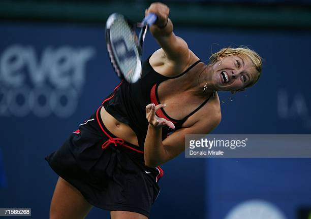 Maria Sharapova of Russia serves against Vasilisa Bardina of Russia during the first set of their match on Day 2 of the Acura Classic August 1 2006...