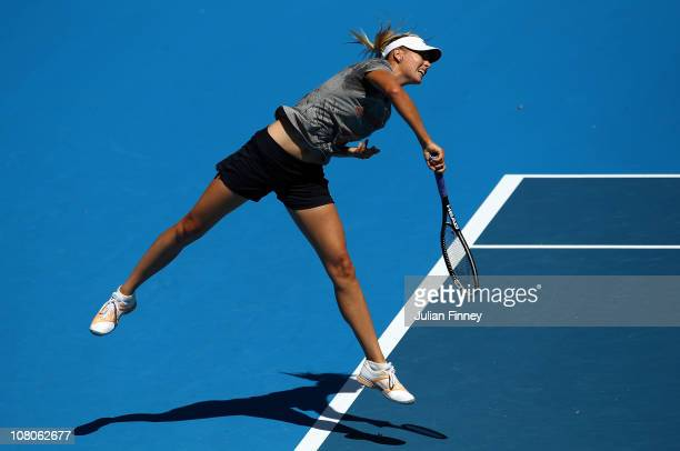 Maria Sharapova of Russia serves during a practice session ahead of the 2011 Australian Open at Melbourne Park on January 16 2011 in Melbourne...
