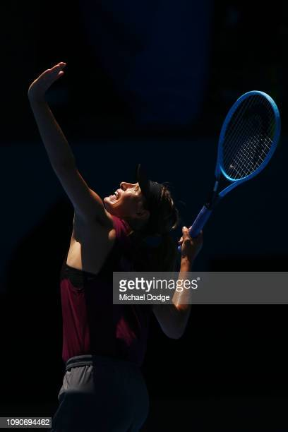 Maria Sharapova of Russia serves during a practice session ahead of the 2019 Australian Open at Melbourne Park on January 07 2019 in Melbourne...