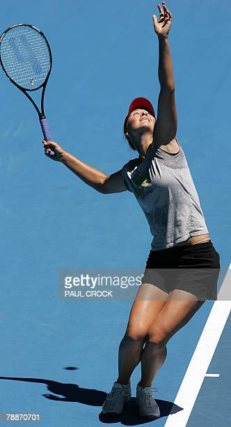 Maria Sharapova of Russia serves during a practice session in the leadup for the Australian Open Melbourne 10 January 2008 Sharapova lost in the 2007...