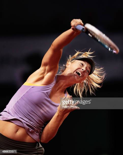 Maria Sharapova of Russia serves during her match against Agnieszka Radwanska of Poland on day five of the Porsche Tennis Grand Prix at Porsche Arena...