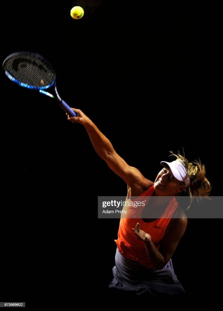 Maria Sharapova of Russia serves during her match against Erkaterina Makarova of Russia during the Porsche Tennis Grand Prix at Porsche Arena on April 27, 2017 in Stuttgart, Germany.