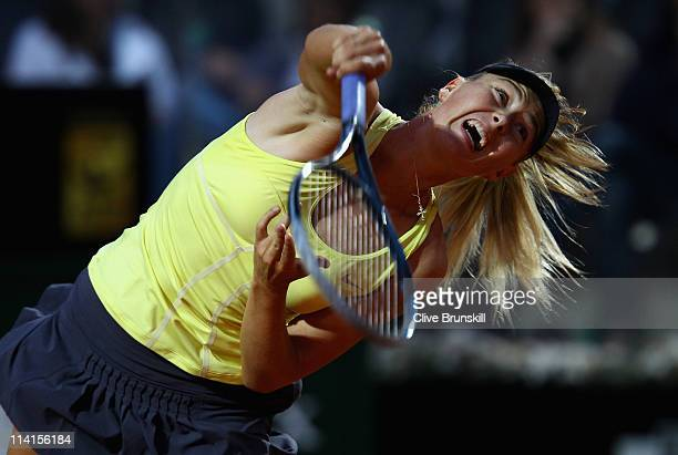 Maria Sharapova of Russia serves during her quarter final match against Victoria Azarenka of Belarus during day six of the Internazoinali BNL...