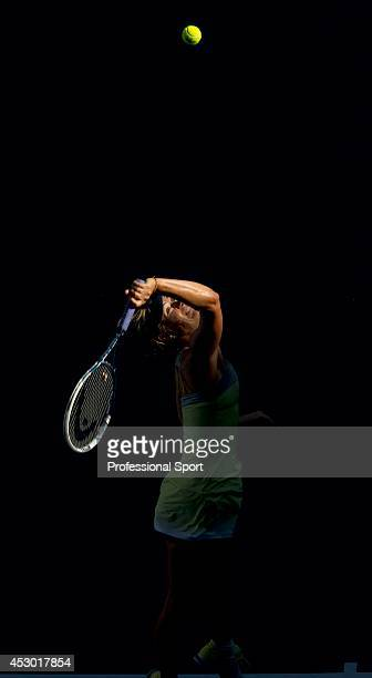 Maria Sharapova of Russia serves during her quarterfinal match against Ekaterina Makarova of Russia on day nine of the 2013 Australian Open at...
