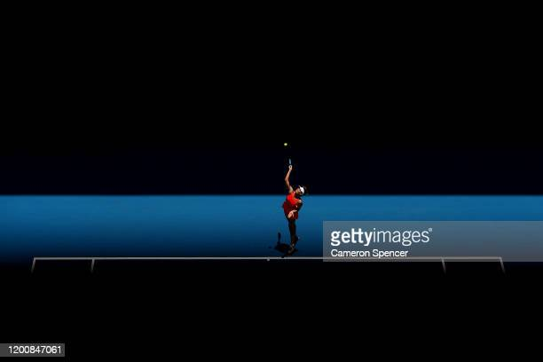 Maria Sharapova of Russia serves during her Women's Singles first round match against Donna Vekic of Croatia on day two of the 2020 Australian Open...