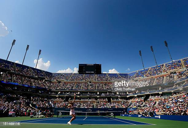 Maria Sharapova of Russia serves during her women's singles semifinal match against Victoria Azarenka of Belarus on Day Twelve of the 2012 US Open at...