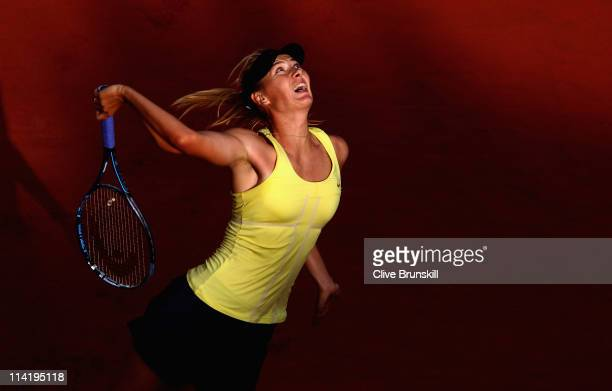 Maria Sharapova of Russia serves during the final against Samantha Stosur of Australia during day eight of the Internazoinali BNL D'Italia at the...