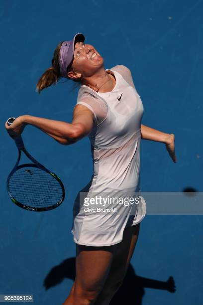 Maria Sharapova of Russia serves in her first round match against Tatjana Maria of Germany on day two of the 2018 Australian Open at Melbourne Park...