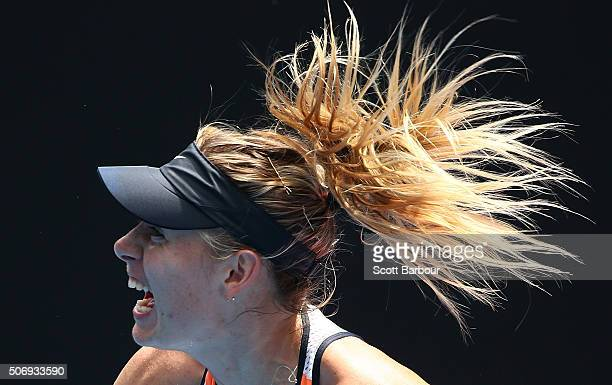 Maria Sharapova of Russia serves in her quarter final match against Serena Williams of the United States during day nine of the 2016 Australian Open...