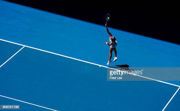 Maria Sharapova of Russia serves in her second round match against Anastasija Sevastova of Latvia on day four of the 2018 Australian Open at...