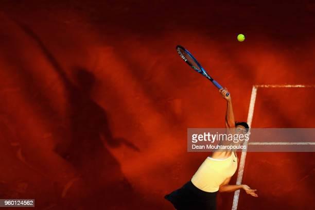 Maria Sharapova of Russia serves in her semi final match against Simona Halep of Romania during day 7 of the Internazionali BNL d'Italia 2018 tennis...