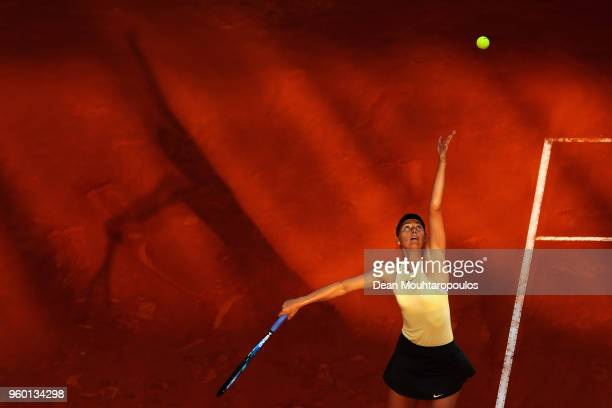 Maria Sharapova of Russia serves in her semi final match against Simona Halep of Romania during day 7 of the Internazionali BNL d'Italia 2018 tennis...
