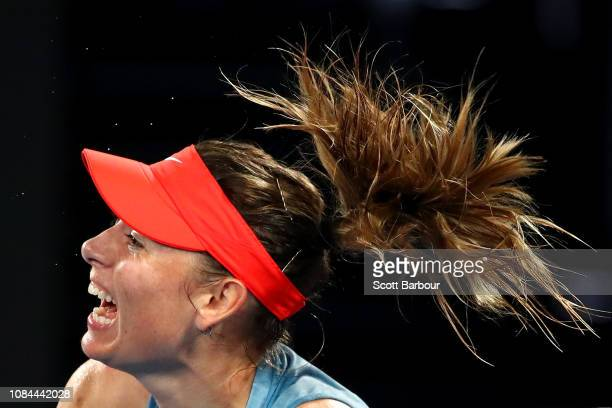 Maria Sharapova of Russia serves in her third round match against Caroline Wozniacki of Denmark during day five of the 2019 Australian Open at...