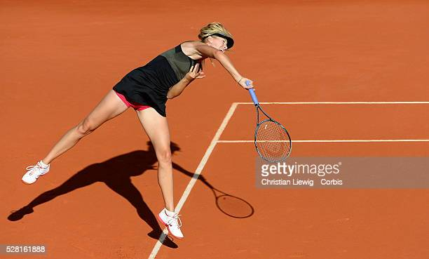 PARIS FRANCE JUNE 07 Maria Sharapova of Russia serves in her women's semi final match against Petra Kvitova of Czech Republic during day 12 of the...
