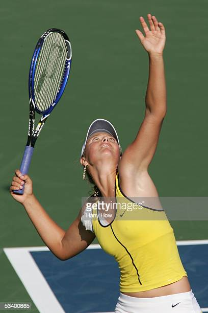 Maria Sharapova of Russia serves the ball to Anna Chakvetadze of Russia during the JPMorgan Chase Open at Home Depot Center on August 11 2005 in...