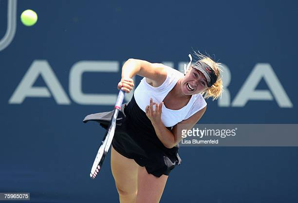Maria Sharapova of Russia serves to Anna Chakvetadze of Russia during the Day 6 semifinal match of the Acura Classic at the La Costa Resort and Spa...