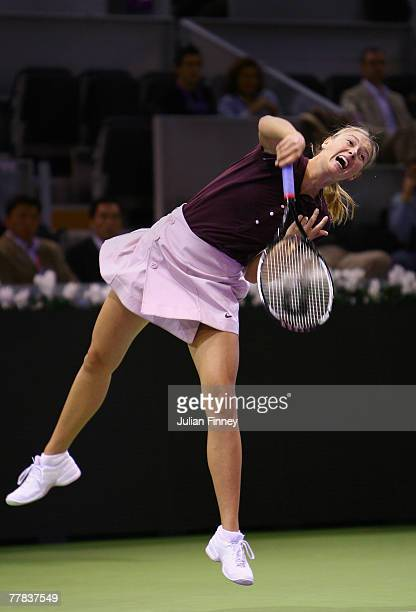 Maria Sharapova of Russia serves to Anna Chakvetadze of Russia in the semi finals during day five of the Sony Ericsson WTA Tour Championships at the...