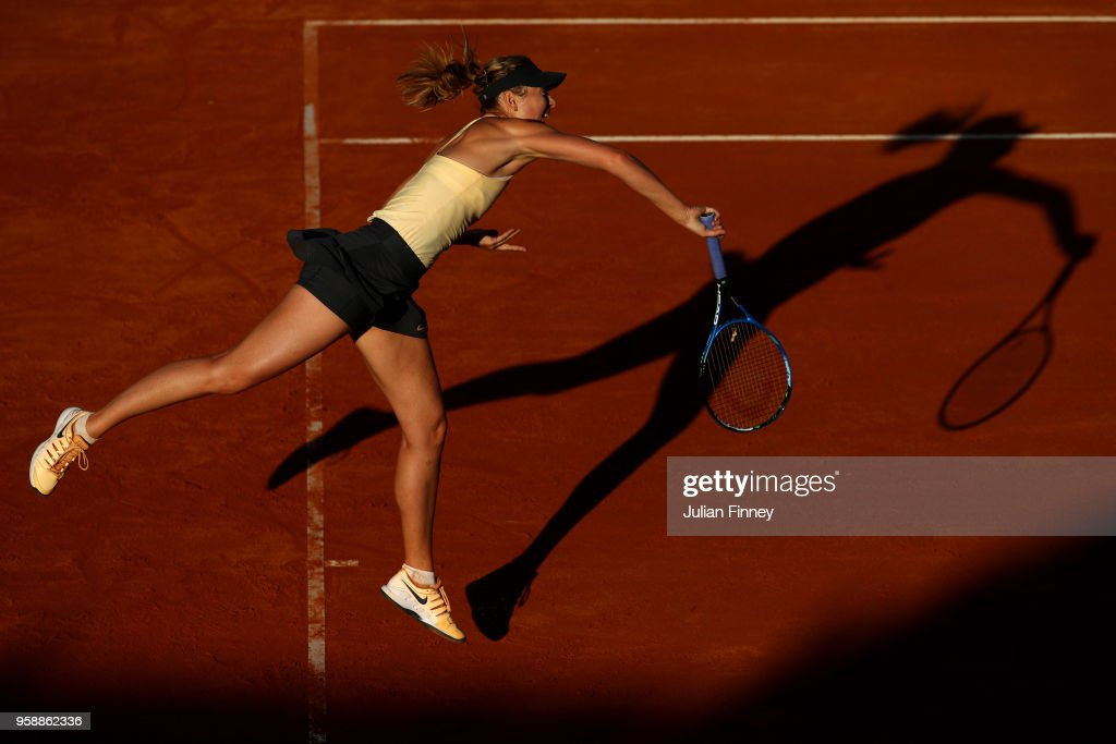 Maria Sharapova of Russia serves to Ashleigh Barty of Australia during day three of the Internazionali BNL d'Italia 2018 tennis at Foro Italico on May 15, 2018 in Rome, Italy.