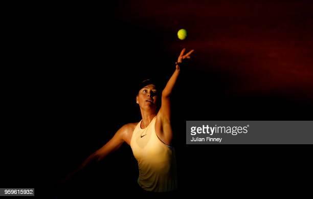 Maria Sharapova of Russia serves to Daria Gavrilova of Australia during day five of the Internazionali BNL d'Italia 2018 tennis at Foro Italico on...
