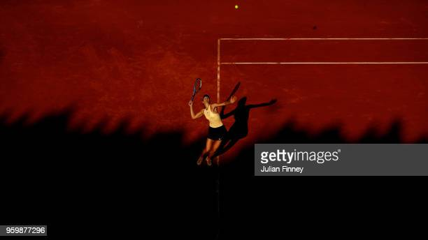 Maria Sharapova of Russia serves to Jelena Ostapenko of Latvia in the Quarter Final during day six of the Internazionali BNL d'Italia 2018 tennis at...