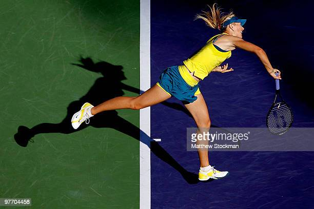 Maria Sharapova of Russia serves to Jie Zheng of China during the BNP Paribas Open on March 14 2010 in Indian Wells California