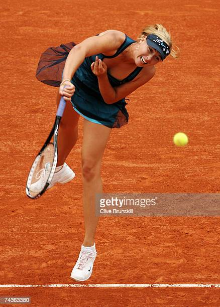 Maria Sharapova of Russia serves to Jill Craybas of United States of America during the Women's Singles 2nd round match on day five of the French...