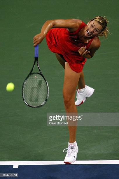 Maria Sharapova of Russia serves to Roberta Vinci of Italy during day two of the 2007 US Open at the Billie Jean King National Tennis Center on...