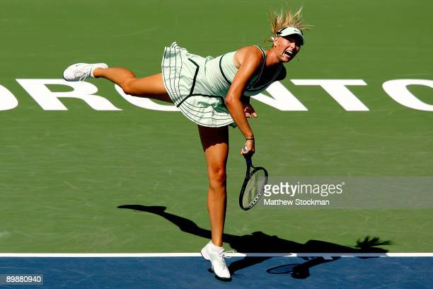 Maria Sharapova of Russia serves to Sybille Bammer of Austria during the Rogers Cup at the Rexall Center on August 19 2009 in Toronto Ontario Canada