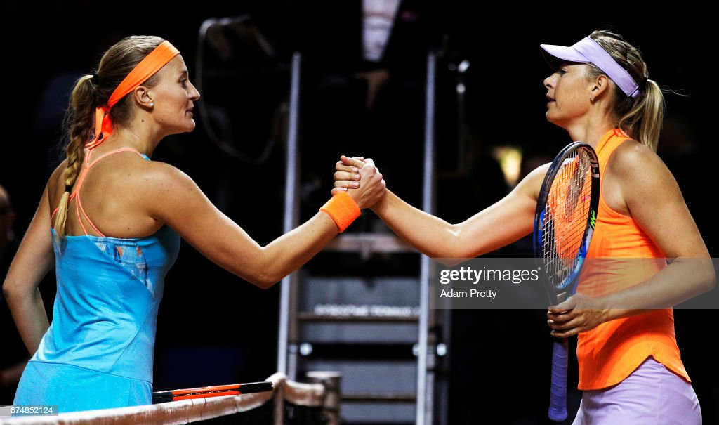 Maria Sharapova of Russia shakes hands after losing her match against Kristina Mladenovic of France during the Porsche Tennis Grand Prix at Porsche Arena on April 29, 2017 in Stuttgart, Germany.